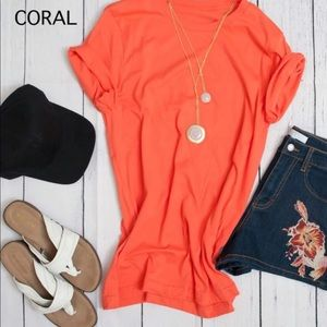 Boutique Coral Extra Long Layering Tee, XL